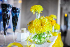Flowers on the table. On the wedding day Stock Photography