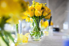 Flowers on the table. On the wedding day Royalty Free Stock Photos