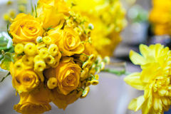 Flowers on the table. On the wedding day Royalty Free Stock Photo