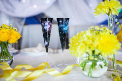 Flowers on the table. On the wedding day Stock Photo