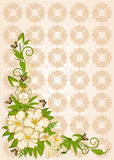 Flowers with tapestry ornaments Stock Photography