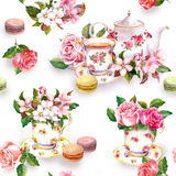 Flowers, tea cup, cakes, macaroons, pot. Watercolor. Seamless background Royalty Free Stock Photos
