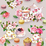 Flowers, tea cup, cakes, macaroons, pot. Watercolor. Seamless background Stock Photo