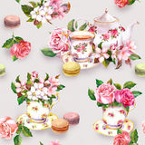 Flowers, tea cup, cakes, macaroons, pot. Watercolor. Seamless background Stock Images