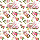 Flowers, tea cup, cakes, macaroons, pot. Watercolor. Seamless background. Tea pattern with flowers cherry blossom, rose flower , tea cups and macaroon cakes Royalty Free Stock Photography
