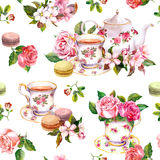 Flowers, tea cup, cakes, macaroons, pot. Watercolor. Seamless background. Tea pattern with flowers cherry blossom, rose flower , tea cups and macaroon cakes Stock Photos