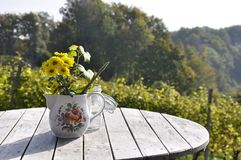 Flowers in teapot on table