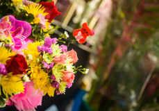 Flowers with teddybear. Colorful bunch of flowers with smail,cute teddybear on the top Royalty Free Stock Images