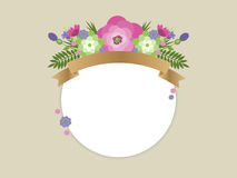 Flowers. Template for text with floral decoration vector illustration