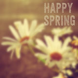 Flowers and the text happy spring Royalty Free Stock Photo