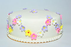 Flowers theme fondant birthday cake Stock Photos