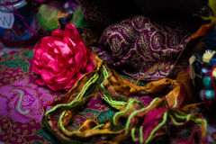 Flowers, threads and craft Stock Images