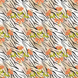 Flowers on tiger wild skin leather seamless pattern Royalty Free Stock Image