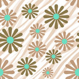 Flowers on tiger wild skin leather seamless pattern texture back Royalty Free Stock Photography