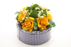 Flowers on tin can Royalty Free Stock Photo
