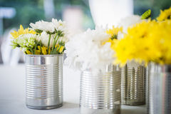 Flowers in tin can Stock Image