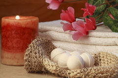 Flowers on the towel Royalty Free Stock Image