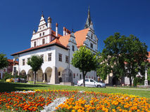 Flowers and townhall in Levoca, Slovakia Royalty Free Stock Images