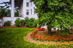 Flowers, tree and building at Gettysburg College, Gettysburg, Pe Royalty Free Stock Image