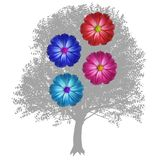 Flowers and trees. Royalty Free Stock Image