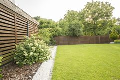 Flowers, trees and green grass in the garden of house with wooden screen. Real photo. Concept stock photos
