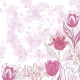 Flowers tulips on abstract background. Floral Pattern, Flowers Tulips Contours and Silhouettes on Abstract Background with Blots. Eps10, Contains Transparencies Vector Illustration
