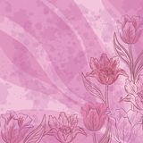Flowers tulips on abstract background. Floral pattern with flowers tulips contours and silhouettes on abstract lilac background. Eps10, contains transparencies Royalty Free Stock Image
