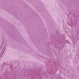 Flowers tulips on abstract background. Floral pattern with flowers tulip flowers, leafs and contours on abstract lilac background. Vector eps10, contains Royalty Free Stock Images