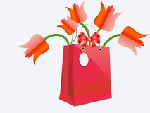 Flowers, Tulips, Bag, Gift, Red Royalty Free Stock Image