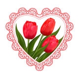 Flowers  tulips, lace and heart  for Valentine`s Day, wedding and the eighth of March Royalty Free Stock Images