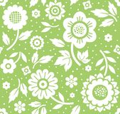 Flowers and twigs, background, seamless, decoration, green, vector. Royalty Free Stock Images