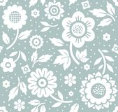 Flowers and twigs, background, seamless, decorative, blue, vector. Royalty Free Stock Photography