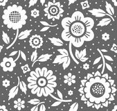 Flowers and twigs, background, seamless, decorative, dark gray, vector. Stock Images
