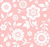 Flowers and twigs, background, seamless, decorative, pink, vector. Royalty Free Stock Images