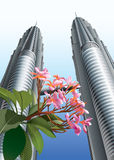 Flowers before Twin Towers Stock Photo