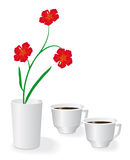 Flowers and two cups of coffee Royalty Free Stock Image