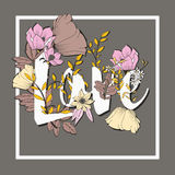 Flowers typography poster design, text and florals combined, word Love Royalty Free Stock Image