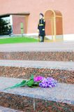 Flowers by the Unknown soldier tomb in Moscow Royalty Free Stock Image