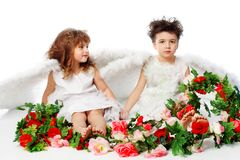 Flowers on valentine. Beautiful little angels holding flowes. Isolated over white background Royalty Free Stock Photos