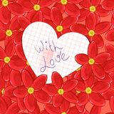Flowers and valentine card Royalty Free Stock Images