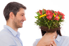 Flowers valentine couple Royalty Free Stock Image