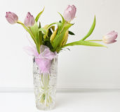 Flowers in a vase. Tulips in a cut vase Royalty Free Stock Image