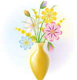 Flowers in a vase. Bouquet field flower in a yellow vase Stock Photography