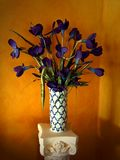 Flowers in Vase. Vase of purple flowers taken at old inn, gold colored wall behind Royalty Free Stock Image