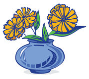 Flowers in vase. Blue and yellow flowers in vase stock illustration