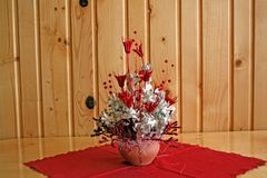 Flowers in vase. Red and white flowers in vase Royalty Free Stock Photography