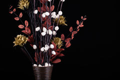 Flowers in a vase with black background Royalty Free Stock Photography