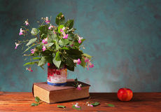 Flowers in a vase on a book and an apple Stock Photos