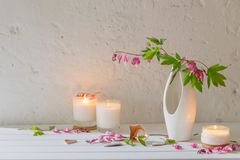 Flowers in vase with candles on background old wall. Flowers in vase with candles on background white wall Stock Images