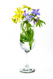 flowers in vase champagne flute Stock Photos